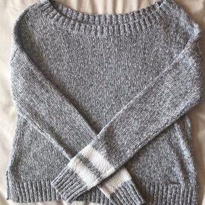 Hollister grey sweater with striped on sleeves!